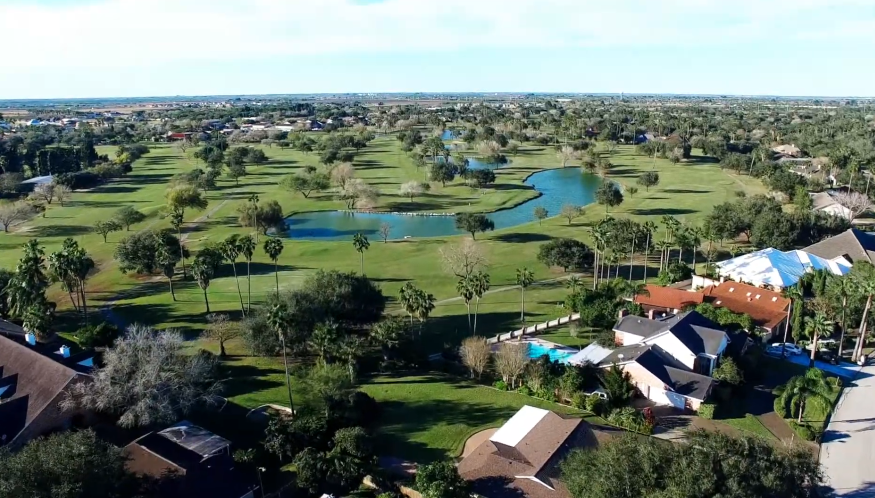 Sky view of properties on Tony Butler golf course