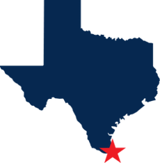 Map of Texas with Star on Harlingen